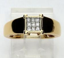 Vs2 Anillo de Compromiso Diamante 14k Oro Amarillo 9 Princesa Brillantes .30ct