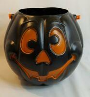 Vintage Black Jack o Lantern Halloween Blow Mold Pail  Grand Venture  1997