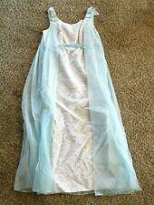 Vintage Dress Empire Waist Sheer Blue Cape Gray Blue Lace 1960s Handmade