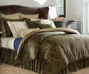 "CHAPS HOME Beekman Place QUEEN Comforter 4pc Set PAISLEY GREEN 92""x96"" *New"