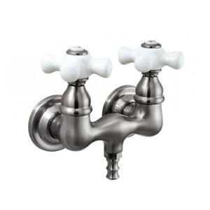 Kingston Brass Vtg Wall Mount Leg Tub Filler Porcelain Cross Handle Satin Nickel