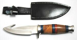 "9 3/4"" Skinning Knife 4 1/2"" Stainless Steel Blade Leather Sheath Wood Handle"