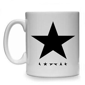 BLACKSTAR MUG CUP DAVID BOWIE GIFT PRESENT BLACK STAR COFFEE TEA ALBUM TRIBUTE