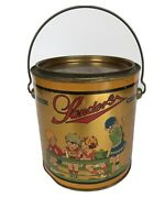 Vtg Sanders Satin Candies Advertising Tin w/ Lid Detroit, Mich. 1920's Design