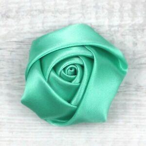 "10Pcs 2"" Satin Ribbon Flower Rose Appliques Sewing Craft Supplies-28 Colors"