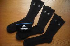 Mens NWT Adidas Crew Socks 3prs BIG & TALL Black Cushioned SOFT Sz:XL(12-15)