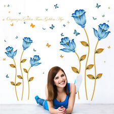 Large Blue Flower Wall Sticker Vinyl Removable Living Room Bedroom Mural Decor