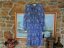 New Nicole Miller Dress Sz 14 Dropped Waist Rt. $86.00 Blue And Ivory NWT