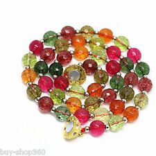10mm multicolor tourmaline quartz faceted round Gemstone beads necklace 18'' AAA