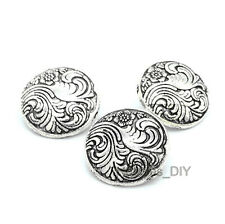 10pcs Antique Silver Flower Round Metal Sewing Shank Buttons Craft Coat DIY 17mm