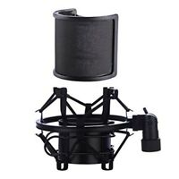 Microphone Shock Mount with Pop Filter Suspension Holder Clip for AT2020 Metal