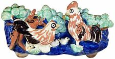 """Ancient 1400 AD Chinese Porcelain Rooster Hen Chicks Pattern 8.5""""l Planter Bowl"""
