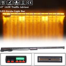 "47"" 144 Led Strobe Light Bar Amber Emergency Warning Traffic Adviser Safety 12V"