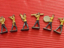 SIX ANTIQUE LEAD TOY MARCHING BAND ARMY/FIRE BRIGADE 2 1/2 INCHES