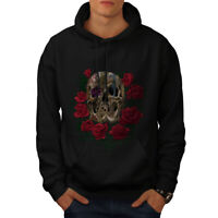 Wellcoda Rose Metal Death Skull Mens Hoodie, Skull Casual Hooded Sweatshirt