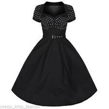 Vestiti da donna nere con pois lunghezza al ginocchio