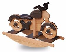 Amish Made Wooden Motorcycle Rocking Horse, Kids Toy, Natural Oak/Walnut Stains