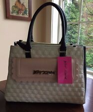NWT Betsey Johnson Triple Entry Quilted Scallop Satchel Bone Black Blush Pink