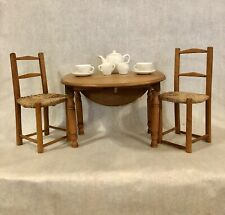 Vintage Wooden Doll Table With Eaves And Chair Set. Possibly Handmade.