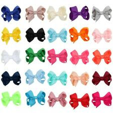 """25pcs/bag 3"""" Girls Solid Color Grosgrain Ribbon Hair Bow with Clip Boutique Bow"""