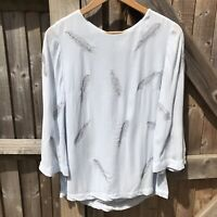 Phase Eight Pale Blue Odette Embroidered Feather Blouse 10 BNWOT Summer
