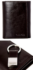 MENS CALVIN KLEIN BROWN GENUINE LEATHER TRIFOLD WALLET & KEY FOB & BOXED GIFT