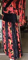 Vtg 80s Diane Freis Red Black Full Skirt Velvet Burnout