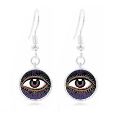 Mystic Eye glass Frea Earrings Art Photo Tibet silver Earring Jewelry #391