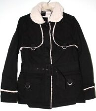Woman's Size Small (8) Cloth Black Belted Jacket with Faux Fur Collar and Trim