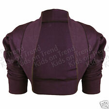 GIRLS BOLERO SHRUG Ruche Sleeve 100% COTTON Cardigan Wedding Party KIDS CHILDREN