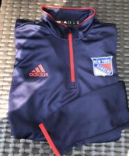 Adidas New York Rangers Shirt Long Sleeve Pullover Shirt M 1/4 Zip Navy Red Nhl