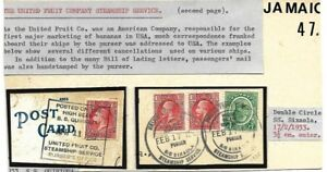 Usa: 1933; cover on board, United Fruit steamship service, 2 fragment, EB0128
