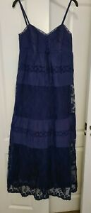 F&F Indian cotton Lace Tiered Frilly Maxi Dress Hippy boho , Size 10