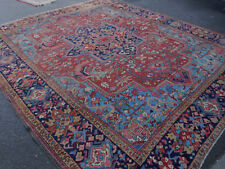 Antique Persian Heriz Serapi rug estate wonderful happy carpet 10'1''x11'6''