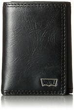NEW LEVI'S MEN'S PREMIUM LEATHER CREDIT CARD ID WALLET TRIFOLD BLACK 31LV110004
