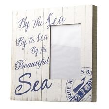 "Shabby Chic Rustic Nautical White Wooden ""By the Sea"" Photo Block 24x24cm"