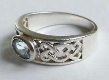 blauer geschliffener Edelstein Ring Silber 925 Vintage 80er silver ring