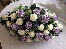 Large Wedding Flowers Table Top Arrangement  Ice Lilac Roses & Purple Gyp
