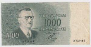 Finland 1000 Markkaa dated 1955 P93a Fine+