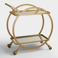 Round Rolling Bar Cart, Vertical 2-Tier wMirrored Serving Trays ~ Antiqued Metal