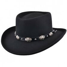 f4e95d0e0d406 Crushable Wool Felt Gambler Cowboy Hat with Buckle Band - Black