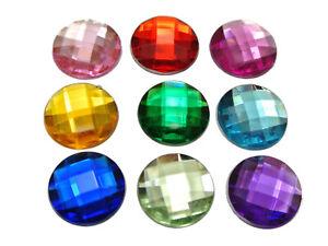 100 Mixed Color Acrylic Rhinestone Flatback Round Gems 16mm Flat Back No Hole