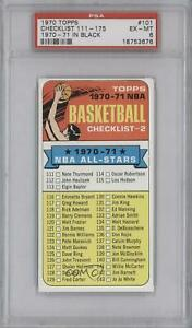 1970-71 Topps Checklist (1970-71 NBA All-Stars in Black on Front) #101.1 PSA 6