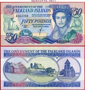 (com) FALKLAND ISLANDS ( MALVINAS)  -  50 POUNDS 1.7. 1990 - P 16 - UNC