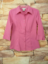 Fred David Stretch Pink Women's Button Up Blouse Size S