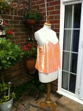 stunning new apricot sequin loose CAMISOLE TOP neat spaghetti straps UK12 bnwt