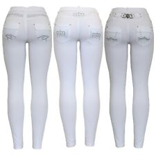 New Ladies White Stretchy Embroidery Buckle Diamante Skinny Jegging Jean Legging