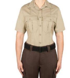 Women's ~BLAUER 8910W Silver-Tan Short Sleeve Rayon Uniform Shirt~ Size 38 Reg.