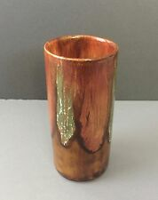 Vintage 1960 1970 DRYDEN Art Pottery Arkansas Brown Drip Cylindrical Vase SIGNED