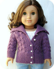 Knitting Pattern - Helena Lace Cardigan Sweater For 18 Inch Doll American Girl